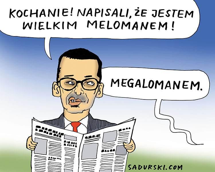 komentarz satyryczny polityczny komentarze satyryczne polityczne satyra rysunek premier Tadeusz Morawiecki