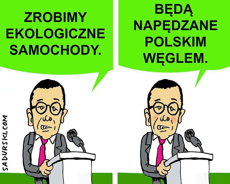 satyra humor polityczny premier Morawiecki samochody ekologiczne węgiel